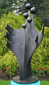 Garden Sculpture In Metal Of A Family, Figurative Abstract Sculpture