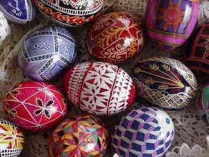Pysanky is an ancient and beautiful form of folk art from the Ukraine. It consists of decoration of eggs using beeswax and dyes.  http://www.learnpysanky.com