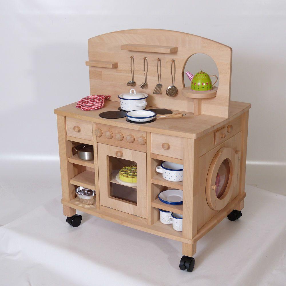 Spielküche Holz-Kinderküche Cinderella 2050N Massiv natur ...