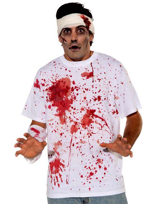 blutiges halloween shirt weiss rot halloween. Black Bedroom Furniture Sets. Home Design Ideas