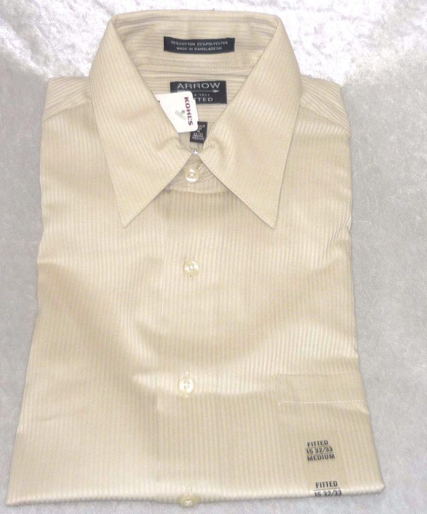 Arrow Mens Dress Shirt Wrinkle Free Beige Striped Size M 15 32 33