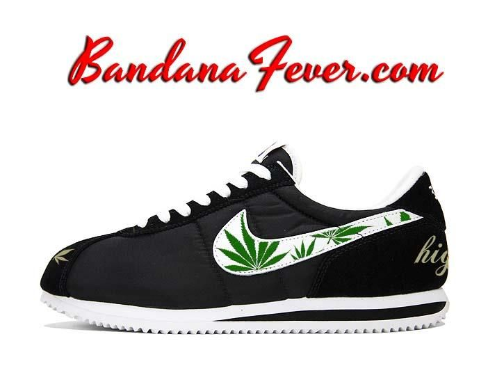 Custom Weed Pot Leaf Nike Cortez Nylon Black/White, #weed, #420