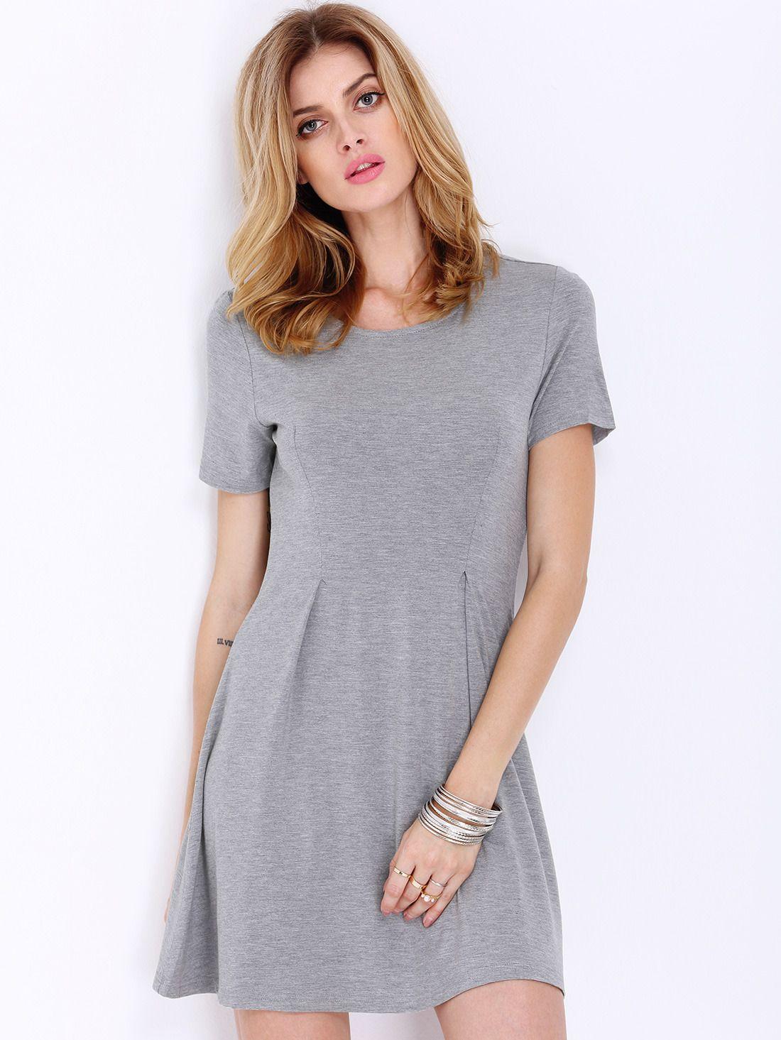 Grey Short Sleeve Casual Dress Casual Dress Short Shift Dress Short Sleeve Shift Dress [ 1465 x 1100 Pixel ]
