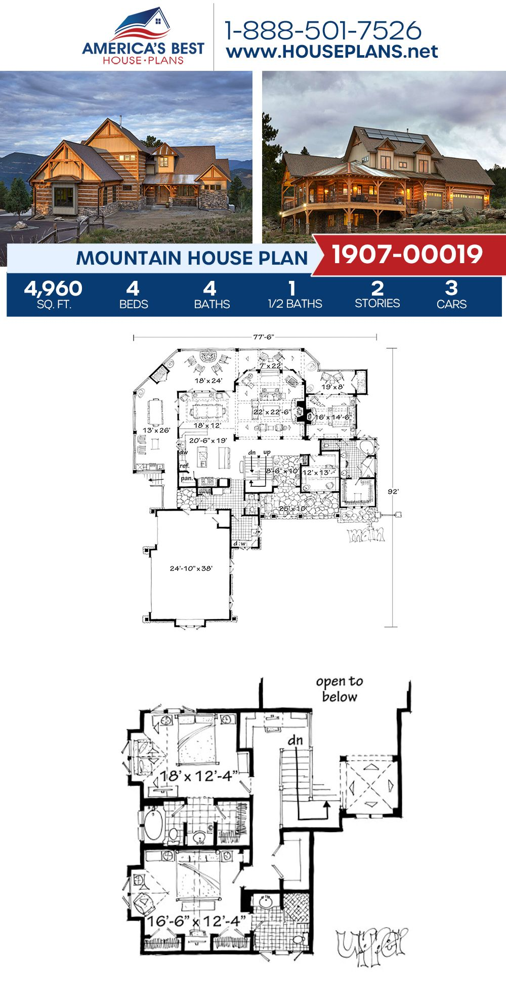 House Plan 1907 00019 Mountain Plan 4 960 Square Feet 4 Bedrooms 4 5 Bathrooms Mountain House Plans Mansion Plans Floor Plans