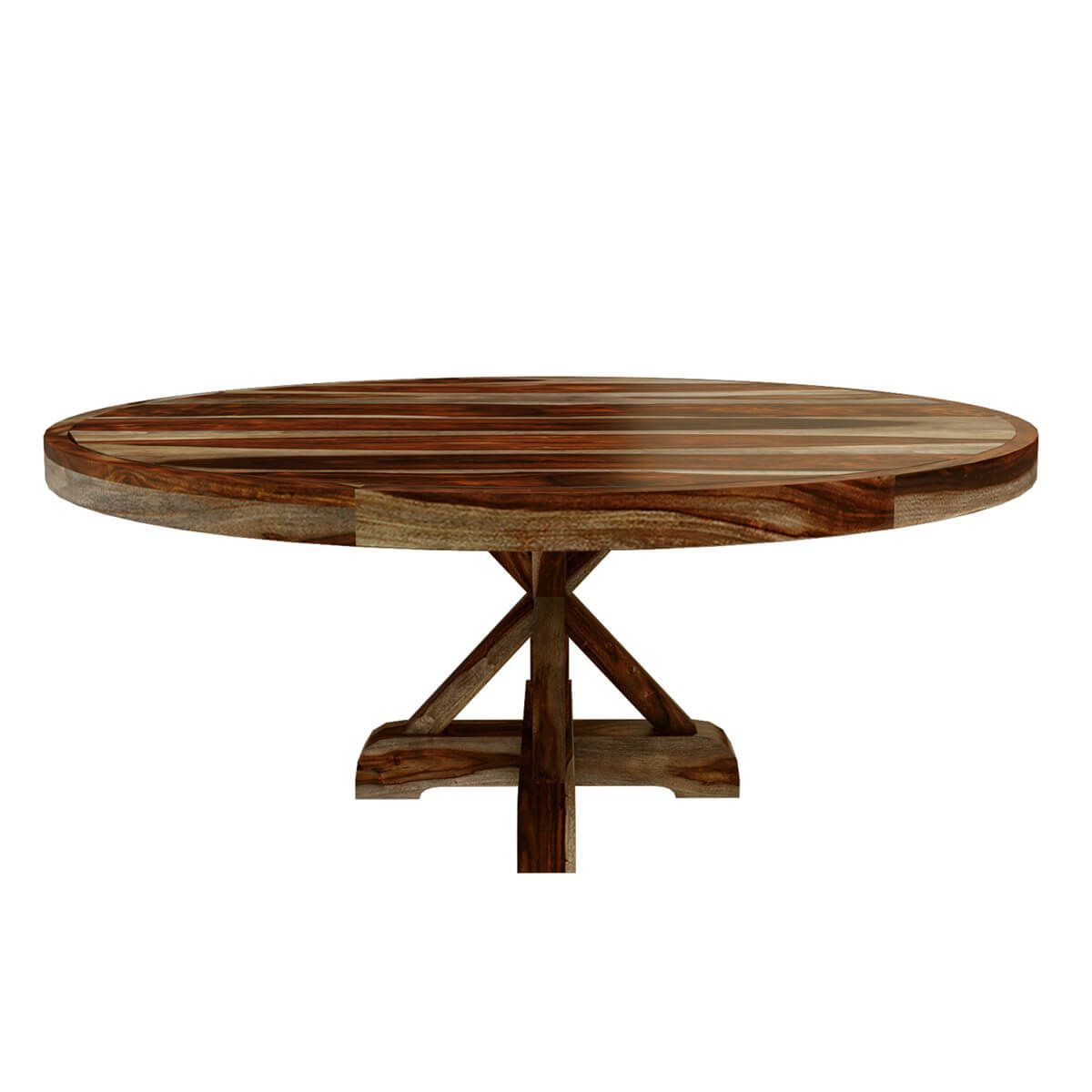 Bedford X Pedestal Rustic 72 Round Dining Table With 8