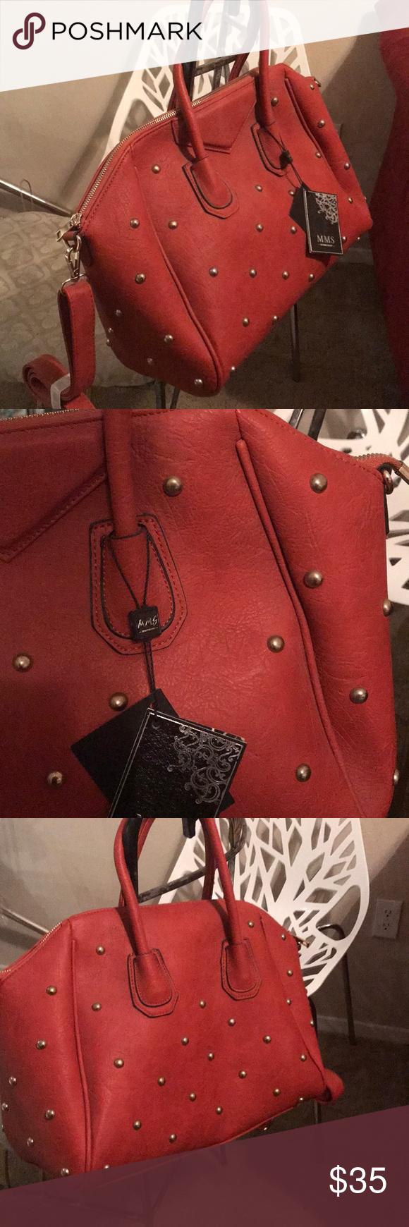 Mms Design Studio Handbag Structured With Studs Includes Detachable Removeable Shoulder Strap Nwt Burnt Orange Color Gold Hardware