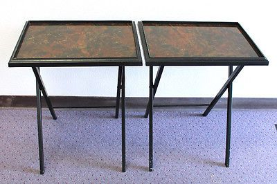 2 Vintage 1950u0027s Artex Tables TV Trays Dinner Snack Table Faux Marble Top