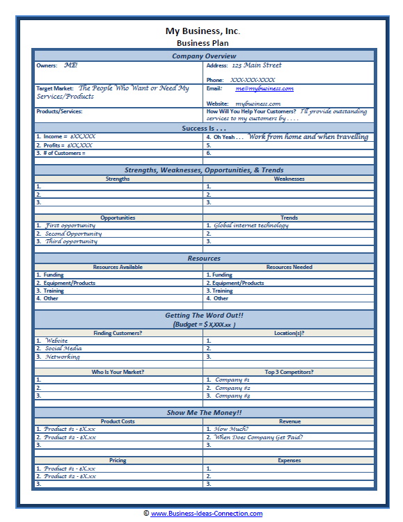 Sample OnePage Business Plan Template Business Plans - Sample business plan templates
