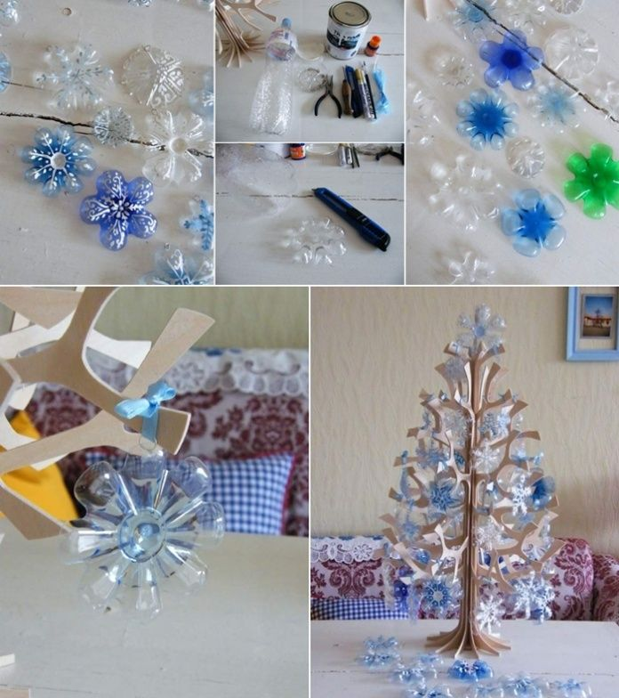 Recycled Plastic Christmas Tree: What To Do With Old Plastic Bottles? Snowflake Christmas