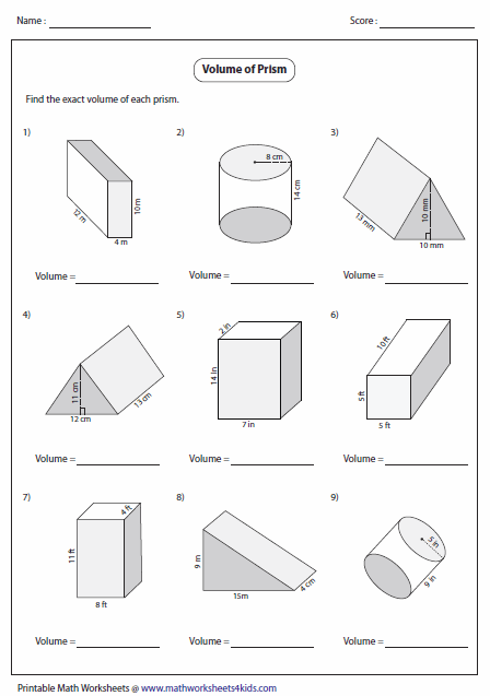 Volume of Prisms: Level 1 | G7 | Volume worksheets, Geometry ...