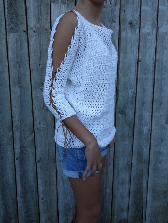 Sweater Crochet PATTERN - Laced Up Sleeves Top/ Modern Rustic Coverup/Open Shoulder Jumper/Open Sleeves Pullover #sweatercrochetpattern