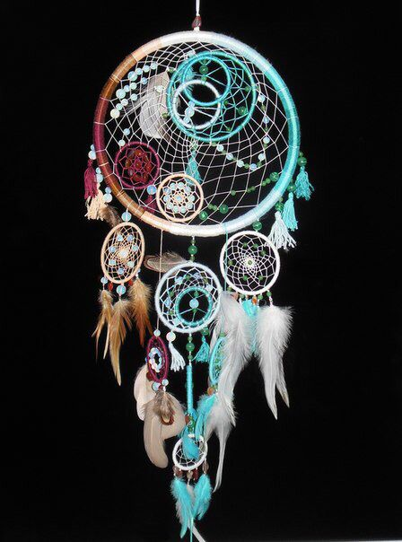 Dreamcatcher & mini Dreamcatchers blue brown tan & white