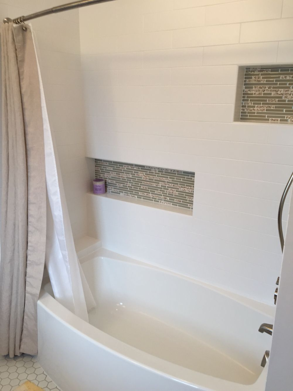 Recessed Offset Shower Niches For Lots Of Storage Linen Bath Curtain From Pottery Barn Large Matte White Subway Tile