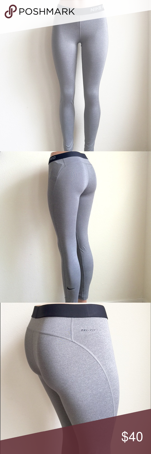 Nike Pro Leggings Pro tights made with sweat-wicking material and elastic logo waistband. New with tags. ♦️No trades, the price is firm unless bundled. Nike Pants Leggings