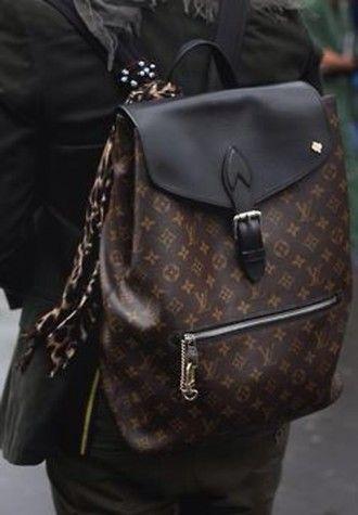 bag louis vuitton louis vuitton bag bookbag backpack pattern lv bag lv  designer designer bag black brown paris gold france international fashion  fashionista ... 853b16abb6e02