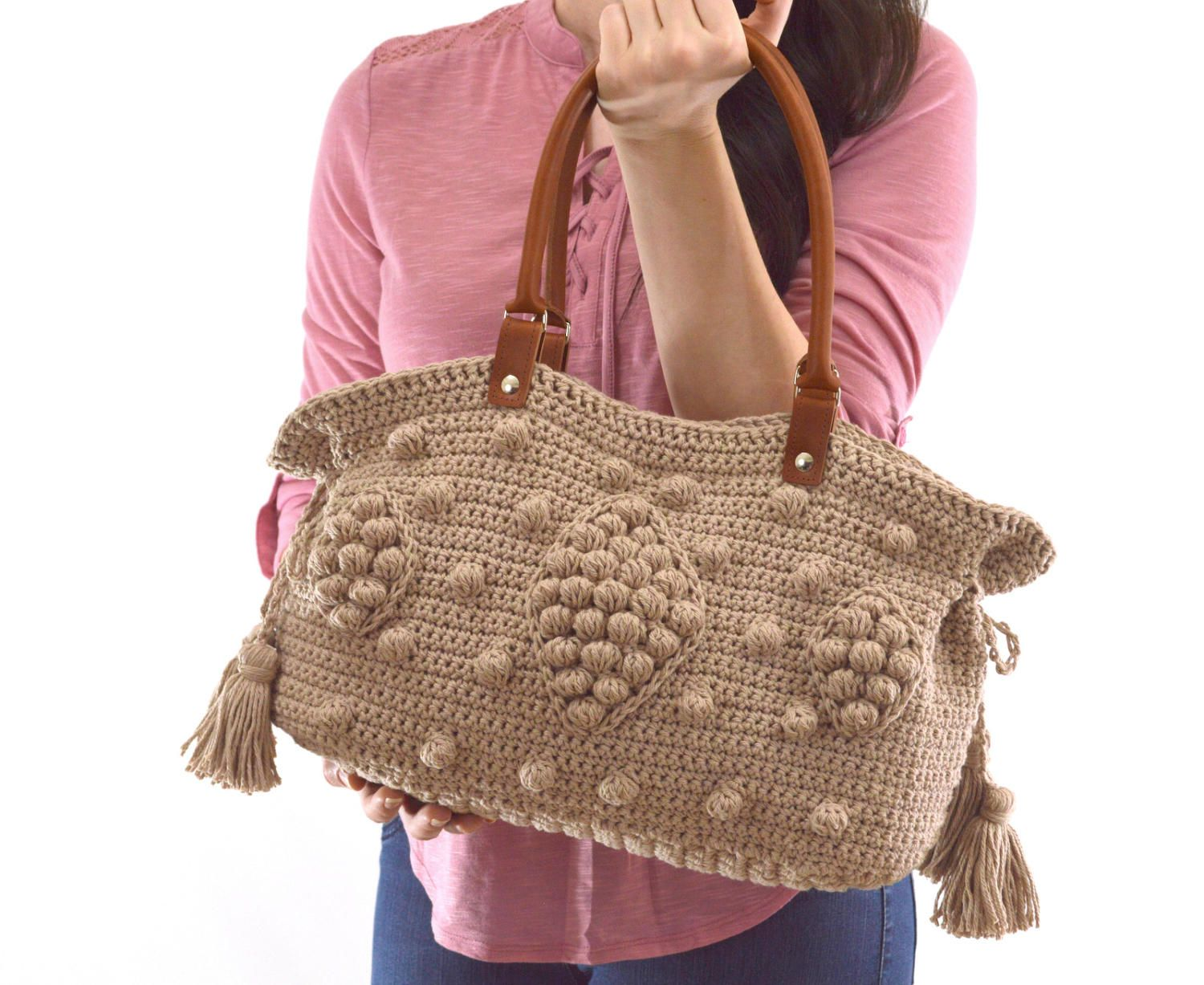 55ccf04f2d Gerard Darel Dublin Inspired Crochet Handbag with Genuine Leather Handles, Crochet  Bag, Summer Bag, Boho Style Bag by Avaneska on Etsy