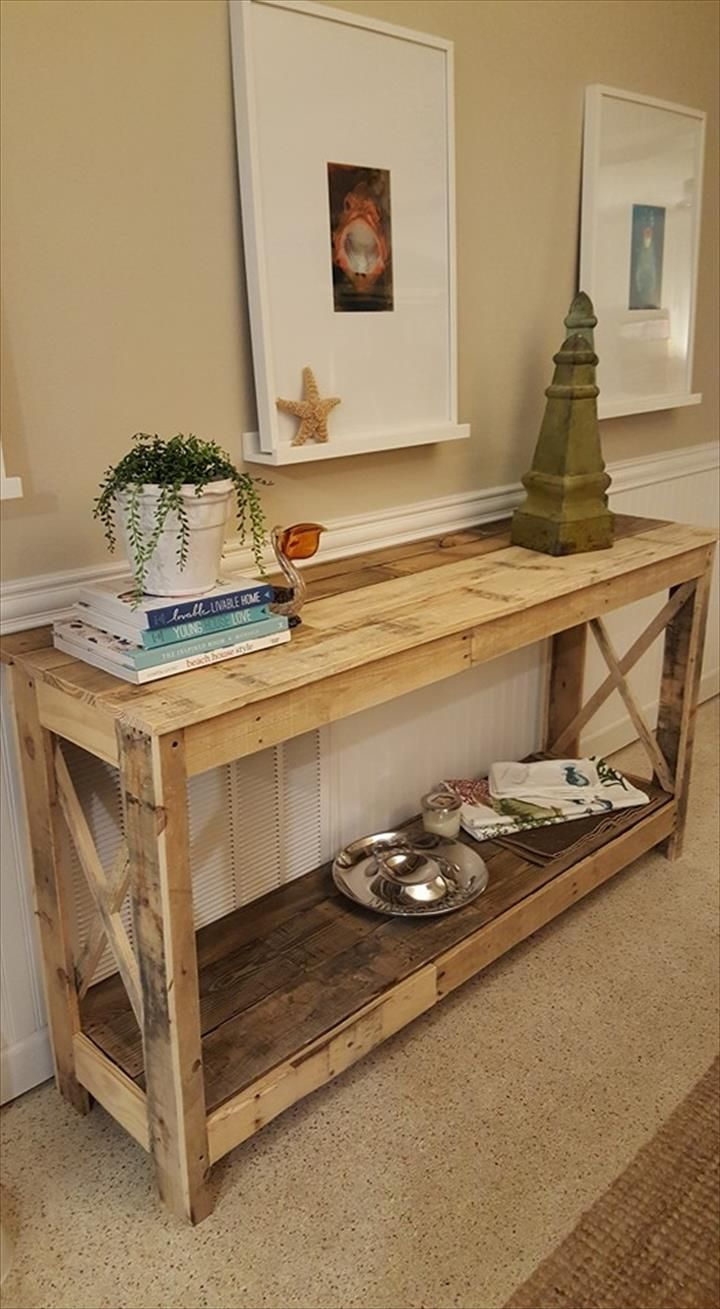 Pallet hallway console 125 awesome diy pallet furniture for Pallet ideas