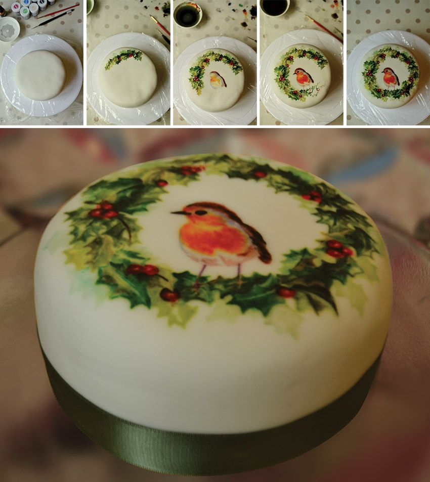 Hand Painted Christmas Cake Cakes Pinterest Cake