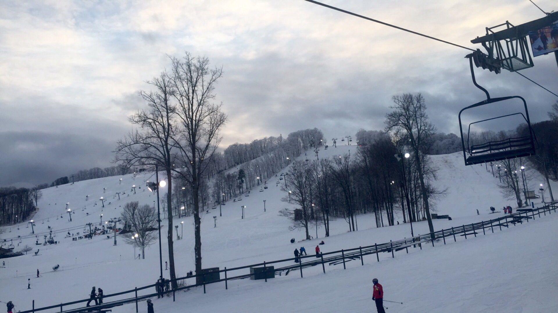 Beginning of nighttime skiing at Boyne Mountain Boyne