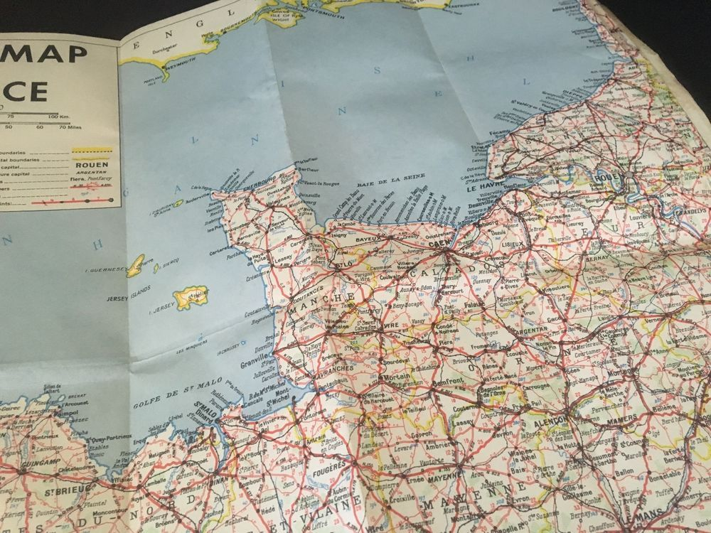 WW2 US Army Corps Of Engineers Map Of France Fold Out 8th ID Vet