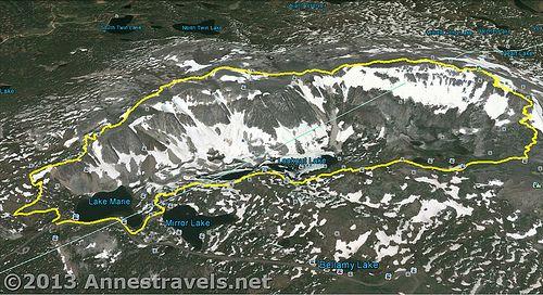 Snowy Range Wyoming Map.Medicine Bow Peak Loop Trail Map Snowy Range Medicine Bow National