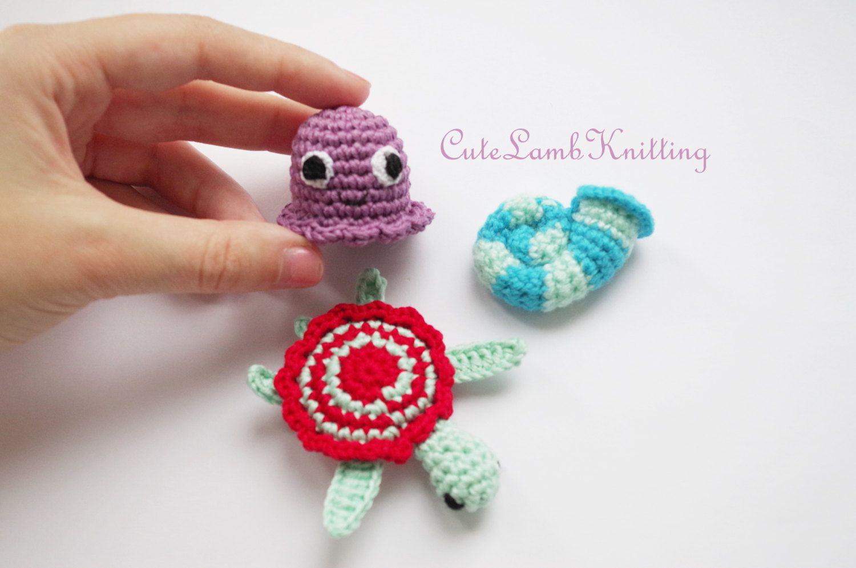 Crochet Sea Animals amigurumi pattern, cute crochet Jellyfish, Seashell and Turtle patterns, crochet Jellyfish, Seashell and Turtle pattern by CuteLambKnitting on Etsy