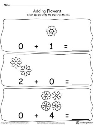 Adding Numbers With Flowers Using Zeros Adding Numbers Kindergarten Worksheets Printable Kindergarten Addition Worksheets