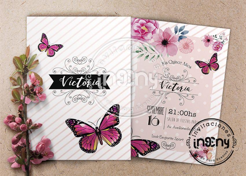Invitacion De 15 Años Mariposas Invitacion 15 Años