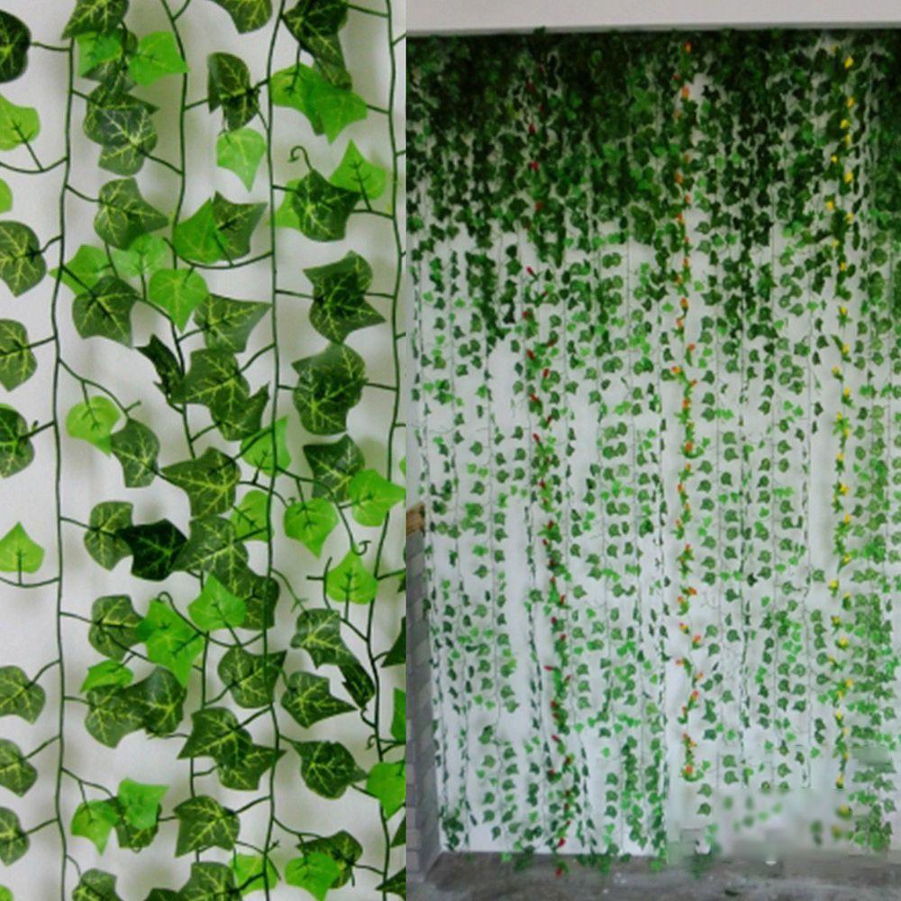 US Artificial Green Hanging Ivy Vine Plant Leaf Garland Home Wedding ...