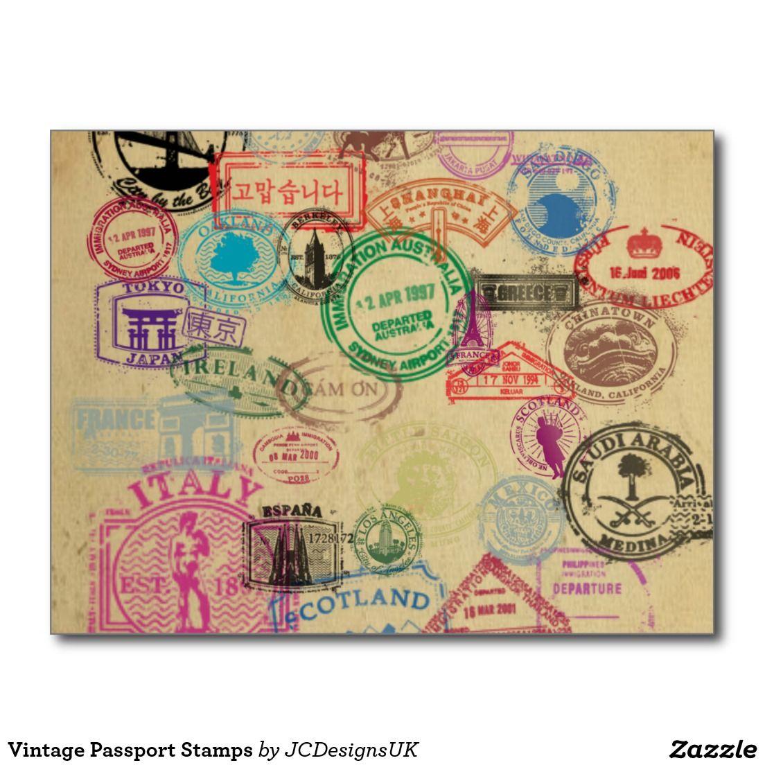 Vintage Passport Stamps Postcard