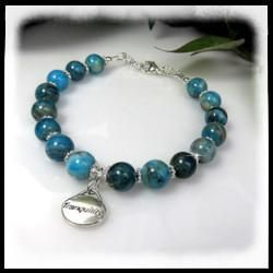 """Blue Crazy Lace Agate 12mm round beads with sterling silver """"Tranquility"""" charm"""