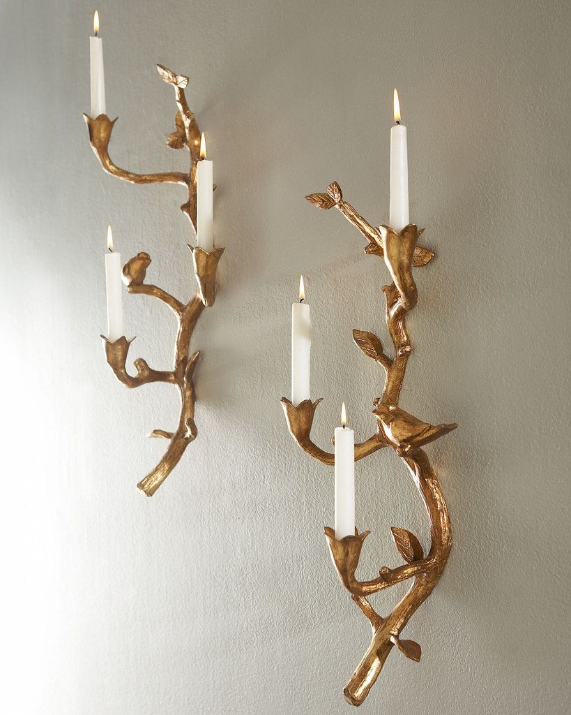 No Wires Required Add Warmth And Style With Chic Candle Sconces Wiring Wall A Branch Inspired Design Gold Metallic Finish The Bird On