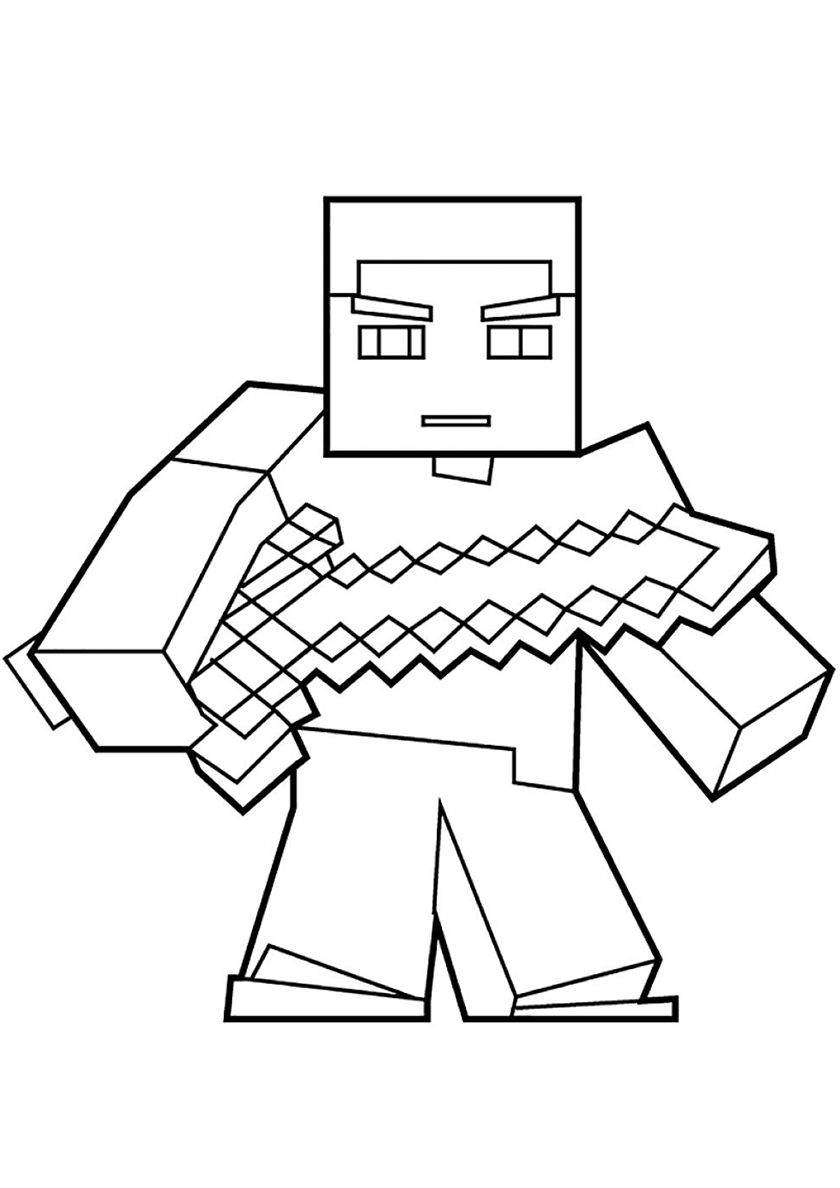 Steve With A Sword High Quality Free Coloring From The Category Minecraft More Printable Minecraft Coloring Pages Minion Coloring Pages Fnaf Coloring Pages