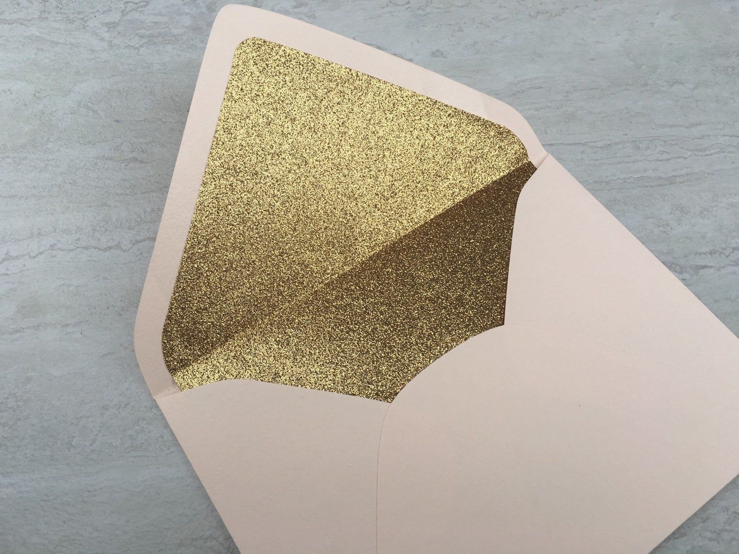 Blush pale pink a7 5x7 gold glitter lined envelopes gold