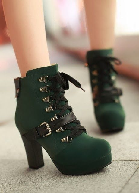 005a1cce1e9 Lace-up and buckle design green boots | My Style-Shoes in 2019 ...