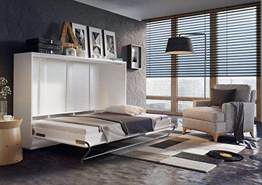 Schrankbett CONCEPT PRO Wandklappbett - Horizontal (140x200 cm - küchenzeile hochglanz weiß