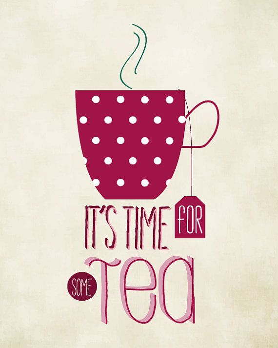 SALE Typographic poster TEA Quote artTea time by BlackPelican