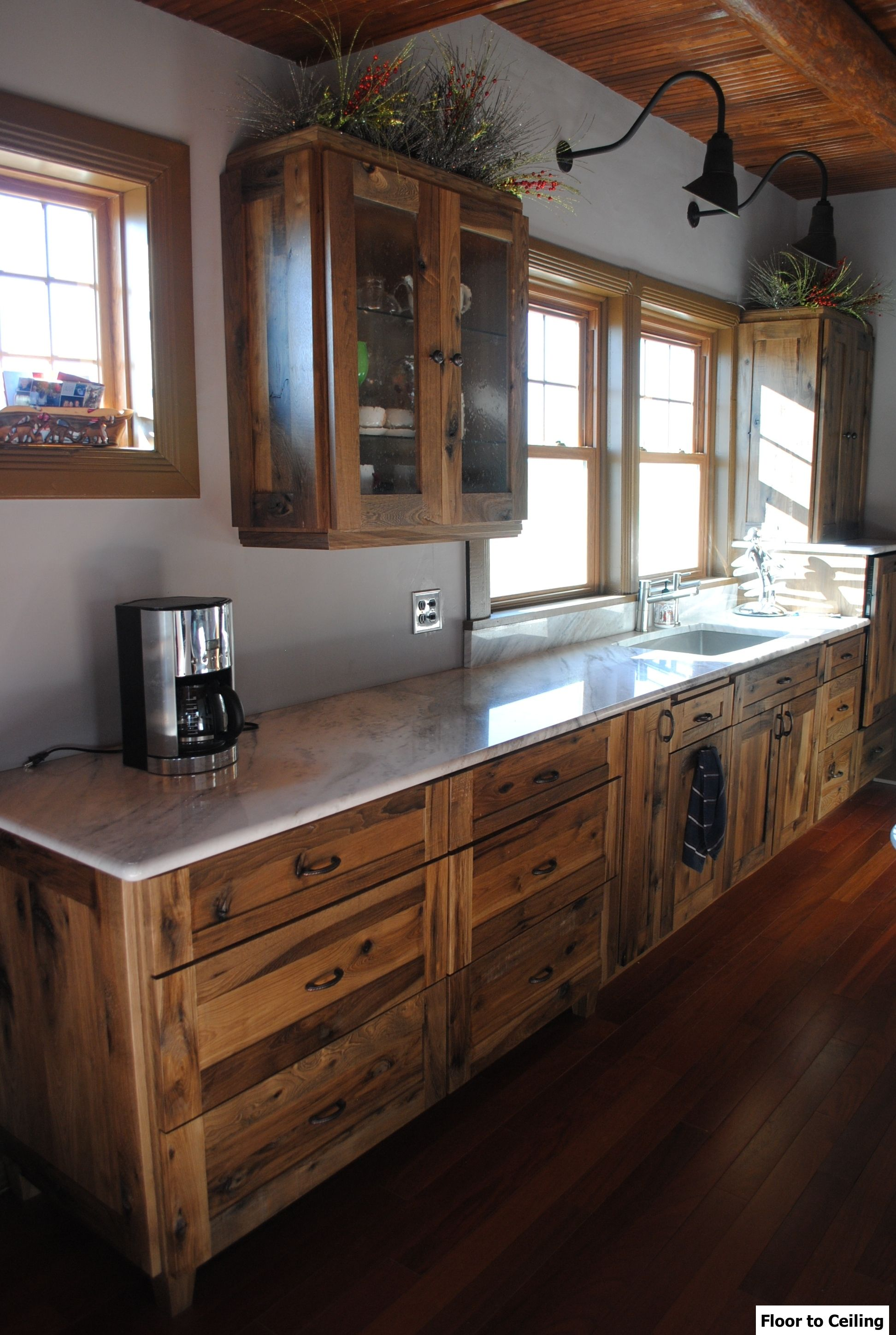 Log Cabin Kitchen Remodel. Installed Woodland Cabinetry Rustic Farmstead  Door, Hickory Wood With Patina