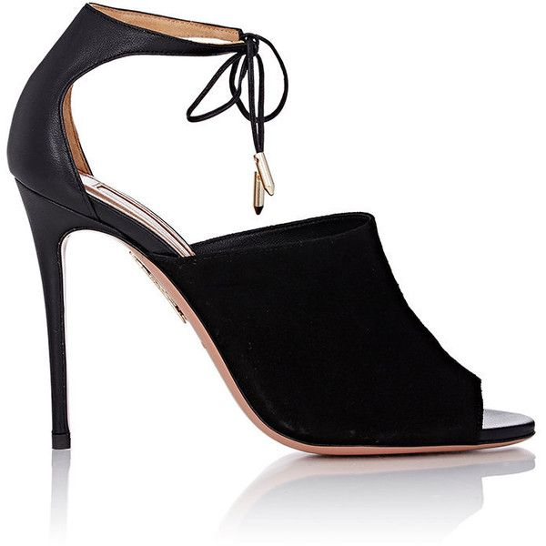 Aquazzura Women's Estelle Ankle-Tie Sandals (9.260 ARS) ❤ liked on Polyvore featuring shoes, sandals, heels, chaussure, black, high heel sandals, black leather shoes, leather sole sandals, ankle wrap sandals and leather sandals