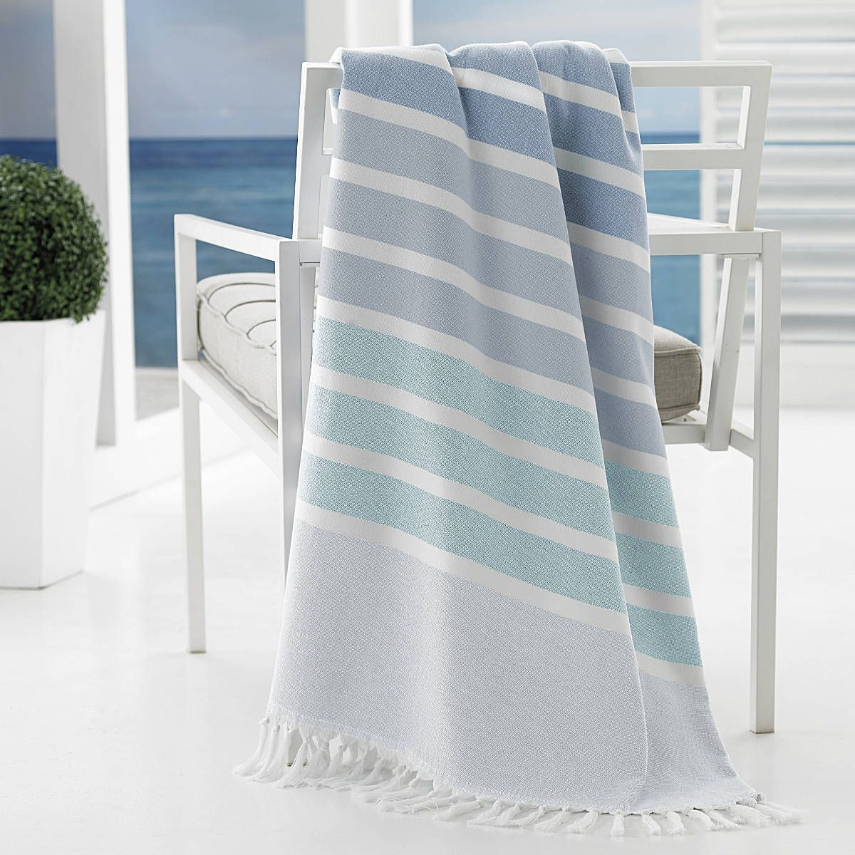 bodrum by kassatex 100 cotton beach towel with fringe kassatex - Kassatex