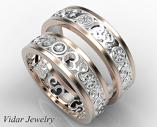 Matching Wedding Band Set His And Hers Diamond Unique Two