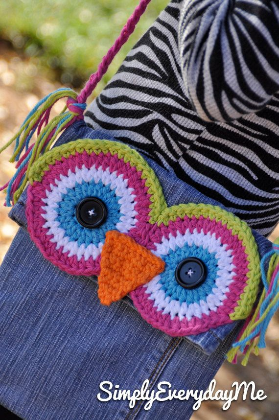 Up-cycle Owl Messenger Bag - Blue Jean Messenger Bag - Crochet ...