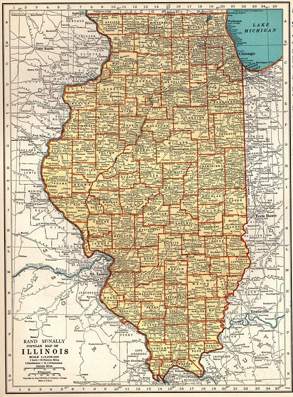 1937 Antique Illinois Map Vintage Map Of Illinois State Map Travel