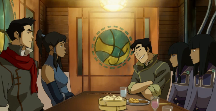 Eating dinner with your creepy cousins isn't that bad Korra... Bolin looks like he is the light of the party!