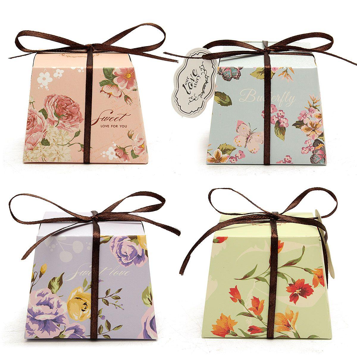 Sale 26% (3.88$) - 10Pcs Floral Printed Ribbon Card Candy Box ...