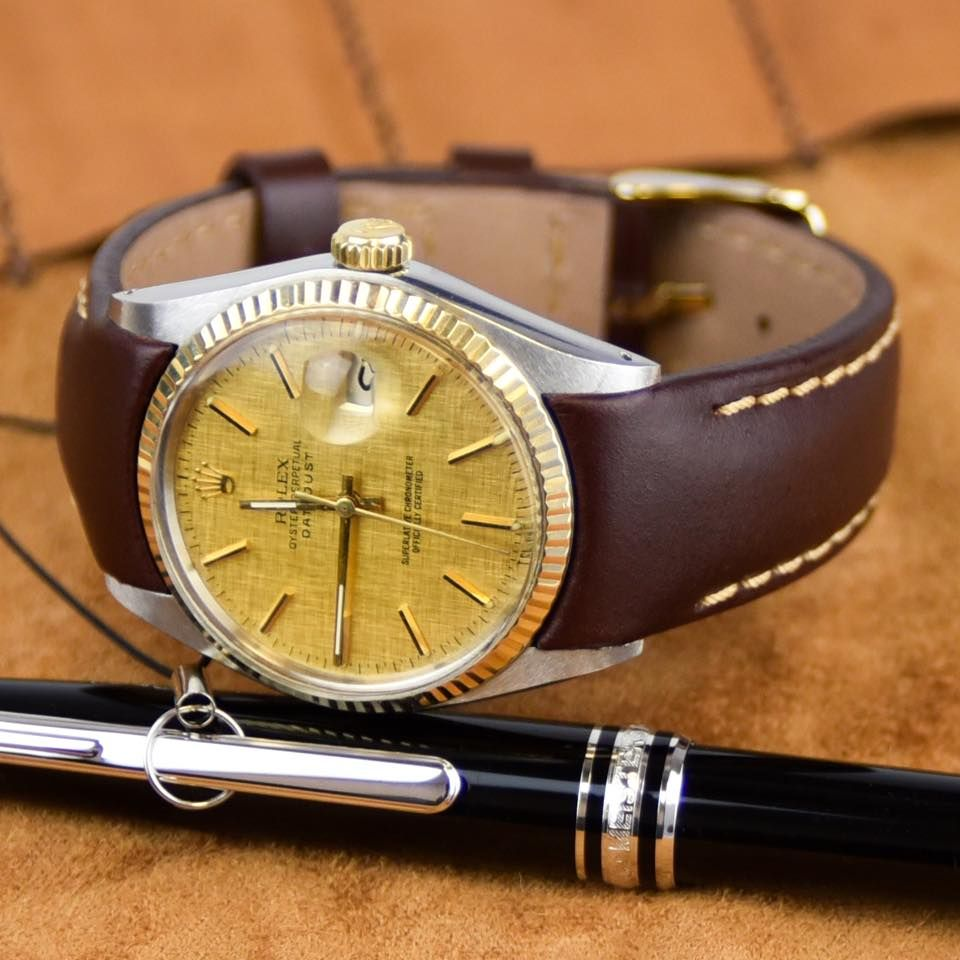 Rolex Datejust Vintage Gold With Leather Strap Rolex Datejust Luxury Watches For Men Datejust