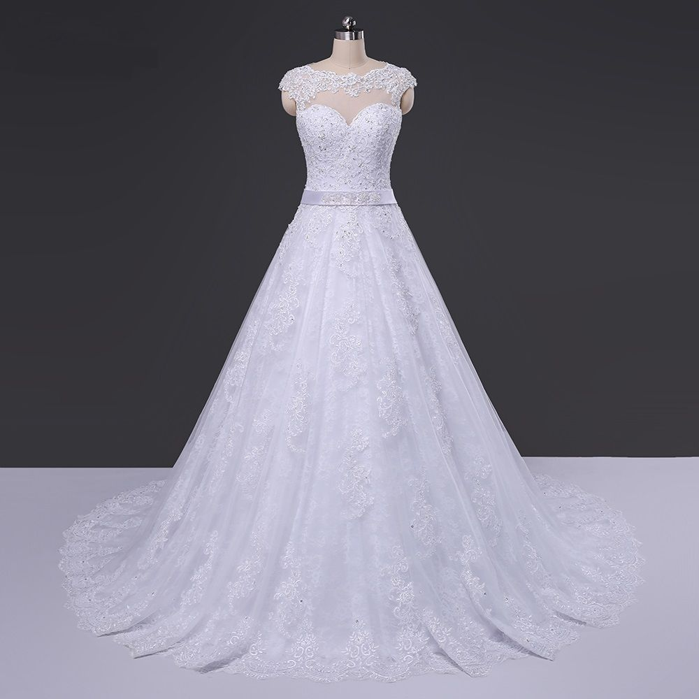 See through back scoop ball gown wedding dress ball gowns wedding