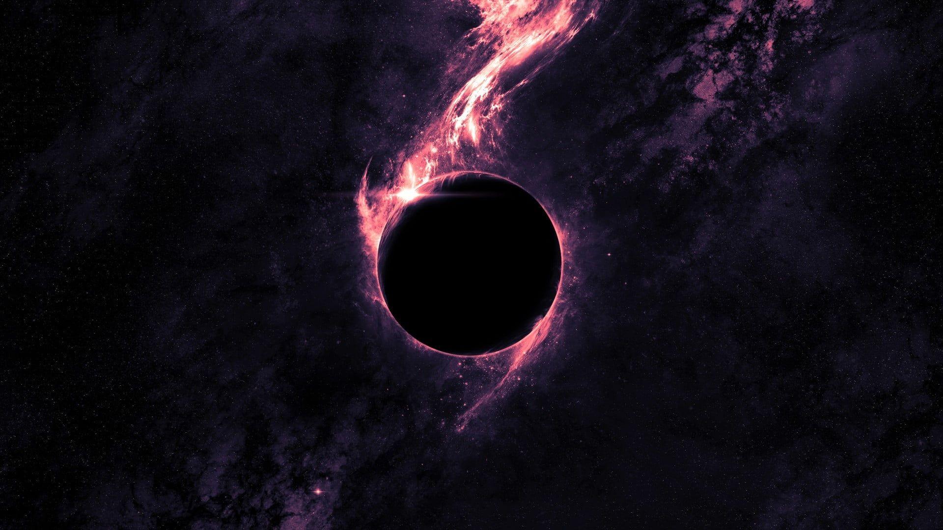 Solar eclipse illustration black hole digital wallpaper space art digital art black holes