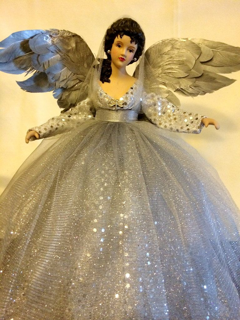 Black Angel Tree Topper With Lights