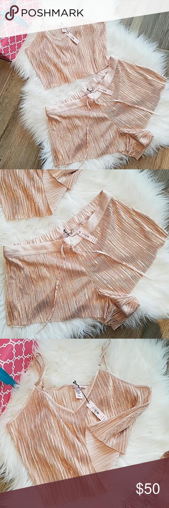 104175f821 Victoria s Secret Shine Pleat Crop Cami  amp  Shorts Victoria s Secret  Shine Pleat Crop Cami  amp